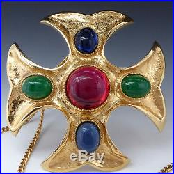 Vintage Jomaz Mazer Maltese Cross Gold Plated Pin Brooch Pendant Necklace