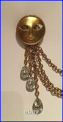 Vintage Joseff Brooch, vintage Sun Brooch, vintage Moon brooch, hollywood pin
