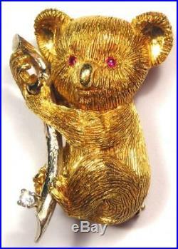 Vintage Koala Bear Animal 18K Yellow Gold Brooch Pin with Diamond (20 grams)