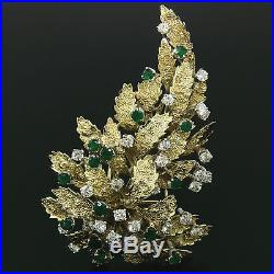 Vintage Large 14K Yellow Gold 4.60ctw Diamond & Emerald Textured Leaf Brooch Pin