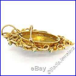 Vintage Large 14k Yellow Gold Turquoise Pearl & Enamel Shield Brooch Pin Pendant