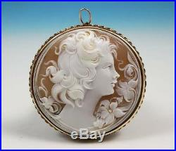 Vintage Large 2 Round Shell Cameo Brooch Pin Pendant 14K Gold Frame Woman Italy