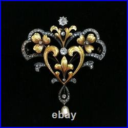 Vintage Large Art 14K Black & Yellow Gold Over and Diamond Pearl Drop Brooch Pin