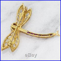 Vintage Levien 18K Yellow Gold 0.36 TCW Ruby & Diamond Dragonfly Brooch Pin 5.2g