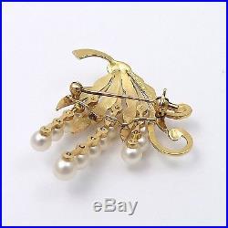 Vintage Mikimoto Tokyo 14k Gold Akoya Pearl Hand Engraved Brooch Pin 7.3gr