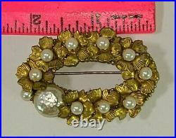 Vintage Miriam Haskell Gold Gilt /Gilded faux Baroque Pearl Brooch Pin