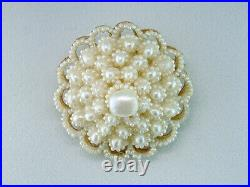 Vintage Pearl Pin Brooch Pendant 14K Yellow Gold Antique Victorian