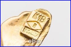 Vintage Signed 1960s Burma Ruby Enamel BUTTERFLY TREE 18k Yellow Gold BROOCH Pin