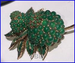 Vintage Signed Ciner Gold Tone Green Enamel & Crystal Flower Pin Brooch