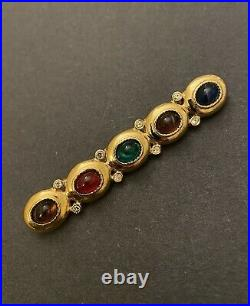 Vintage Signed GIVENCHY Poured Gripoix Glass Cabochon Gold Plated Pin Brooch