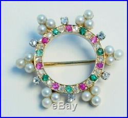 Vintage Solid 14K Yellow Gold Brooch pin with pearls, diamond, sapphire and ruby