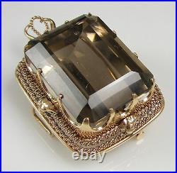 Vintage Stunning Rare 14k Rose Gold Smoky Quartz 31.5 Gram Pin Brooch Pendant