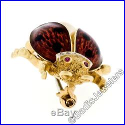 Vintage Textured 18K Yellow Gold Enamel with Ruby Diamond Pearl Ladybug Brooch Pin