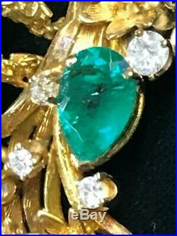 Vintage Tiffany & Co 14K Yellow Gold, Emerald, Sapphire, Diamond Brooch pin