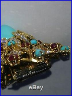 Vintage Tiffany & Co. 18KT Yellow Gold Diamond Rubies and Turquoise Brooch Pin