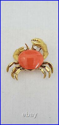 Vintage Tiffany & Co. 18K Yellow Gold Coral Crab Pin Brooch