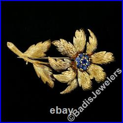 Vintage Tiffany & Co. 18k Gold. 56ct Sapphire Hand Etched Flower Leaf Pin Brooch