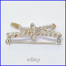 Vintage Tiffany & Co. 18k Sterling Silver 750 Twisted Cable Bow Brooch Pin