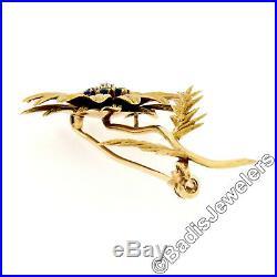 Vintage Tiffany & Co. 18k Yellow Gold Diamond & Sapphire Sunflower Brooch Pin
