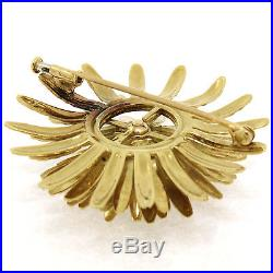 Vintage Tiffany & Co. France 18K Gold 1.0ctw 14 Diamond Etched Flower Brooch Pin