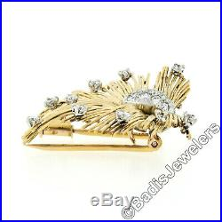 Vintage Tiffany & Co. France 18K Gold 1.10ctw Diamond Wire Sparklers Brooch Pin