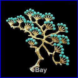Vintage Turquoise Blue Gold Bonsai Tree Brooch Pin Crown Trifari Look Rare