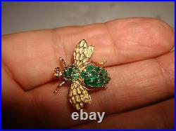 Vintage Unique 14k Yellow Solid Gold Green Emerald Bee Fly Bug Pin Brooch
