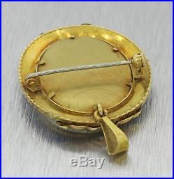 Vintage Victorian Style 18k Gold Miniature Portrait Enamel Pendant Brooch Pin