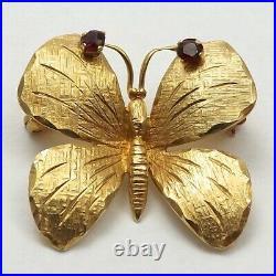 Vintage Wells 14K Gold Garnet Butterfly Brooch Pin Pendant 5 Grams