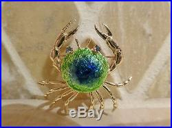 Vintage signed 18k yellow gold enamel 3D crab brooch pin sapphire popping eyes