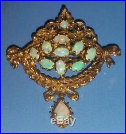 Vtg 14KT Gold OPALS Pendant Brooch Pin Estate Cluster 9.8 Gr LOT Not Scrap Gift