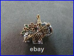 Vtg 14K Gold Basket Flower Brooch Pin Pendant Diamonds Rubies Emeralds