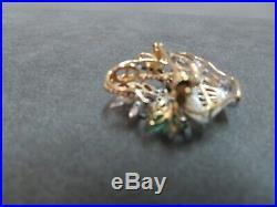 Vtg 14K Gold Basket Flower Brooch Pin Pendant Diamonds Sapphires Rubies Emeralds