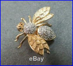 Vtg 14K Solid Gold Diamond Bee Brooch Pin Flying Insect Pendant 3.74 Gram