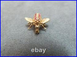 Vtg 14K Solid Gold Diamond Ruby Bee Brooch Pin Flying Insect 2.72 Gram