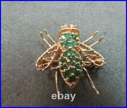 Vtg 14K Solid Gold Emerald Diamond Bee Brooch Pin Pendant Flying Insect 2.58 G