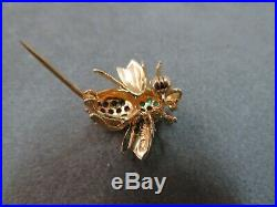 Vtg 14K Solid Gold Emerald Ruby Sapphire Bee Brooch Pin Pendant Flying Insect