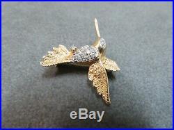 Vtg 14K Solid Gold Hummingbird Diamond Brooch Pin / Gram