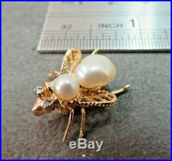 Vtg 14K Solid Gold Pearl Diamond Bee Brooch Pin Pendant Flying Insect/ 2.57 G