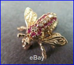 Vtg 14K Solid Gold Ruby Diamond Bee Brooch Pin Flying Insect 2.38 Gram