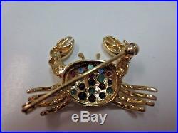 Vtg 14K Solid Y. Gold Crab Diamond Ruby Emerald Sapphire Brooch Pin