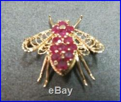 Vtg 14K Solid Y. Gold Diamond Eye Ruby Bee Brooch Pin Pendant Flying Insect