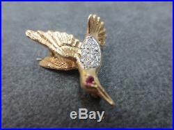 Vtg 14K Solid Y. Gold Hummingbird Ruby Eye Diamond Brooch Pin Pendant/ 3.35 Gram