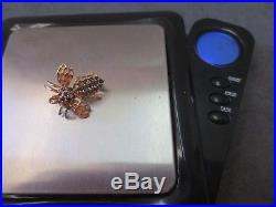 Vtg 14K Solid Y. Gold Sapphire Bee Brooch Pin Flying Insect 3.14 Gram