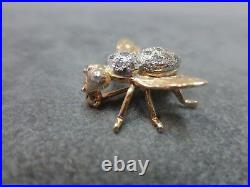 Vtg 14 K Solid Gold Cubic Zirconia Bee Brooch Pin Flying Insect 3.52 Gram