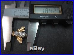 Vtg 14 K Solid Gold Diamond Bee Brooch Pin Flying Insect 3 Gram