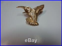 Vtg 14 K Solid Gold Hummingbird Brooch Pin 2 Gram