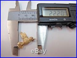 Vtg 14 K Solid Gold Ruby Eye Hummingbird Brooch Pin 2.76 Gram