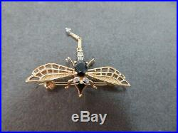 Vtg 14 K Solid Gold Sapphire Diamond Dragonfly Brooch Pin Fly Insect Pendant