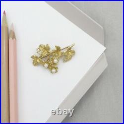Vtg 14k Gold Pearl Flower Cluster Leaf Vine Brooch Pin